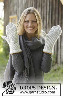 192-10 Sundal Mittens by DROPS Design
