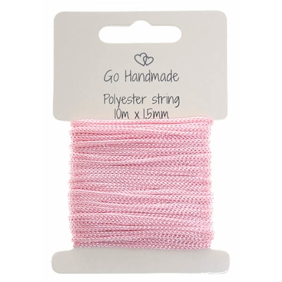 Go Handmade polyester snøre 10mx15mm pink