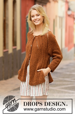 202-14 Autumn Spice Cardigan by DROPS Design