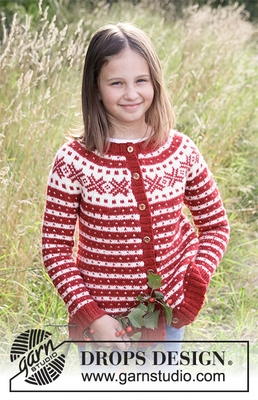 34-31 Candy Cane Lane Kids Jacket by DROPS Design