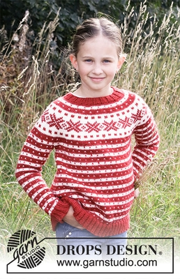 34-32 Candy Cane Lane Kids by DROPS Design