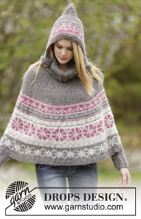 164-6 Sweet Winter Poncho by DROPS Design