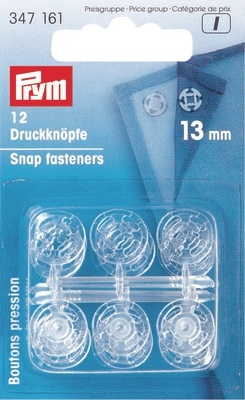 Prym Tryklåse, Transparent, 7-15mm