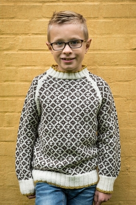 Mønstersweater med kontrastkant i Mayflower Easy Care Classic