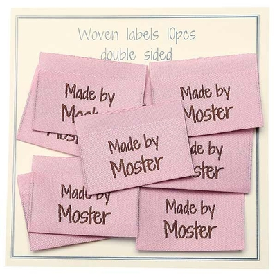 Go Handmade Vævet Label, Dobbeltsidet, Pink, 35 x 19 mm, 10 stk Made by Moster