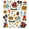 Stickers, Blandet, Ark 15 x 16,5 cm, 1 ark Pirater